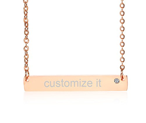Nameplate Chain Necklace - Personalized Custom Name Quote Initial Nameplate Stainless Steel Crystal Rose Gold Plated Layered Vertical Bar Necklace