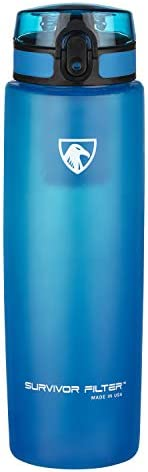 Survivor Filter Active Filtration Bottle. Made in USA. Tested to NSF Standard 42 & 53 to Remove 99.99% of