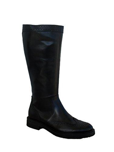 Donna 96m9 Frau Scarpe Zip Inglese In Nere Decorazioni Nero Stivali Pelle Con Da Punta X44wqd