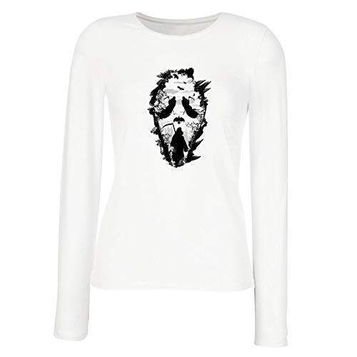 lepni.me Women's T-Shirt Tribal Grim Reaper Scream - Death Creepy Scary (X-Large White Multi Color) ()