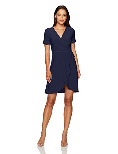 Star Vixen Women's Petite Short Sleeve Ballerina Wrap Dress, Navy, PS (Blue Wrap Dress Navy)