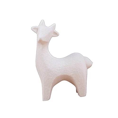 Baoblaze White Ceramic Deer Reindeer Set Figurines Statue Ornament Handcraft Art Collection for Home Decor Christmas Gift - Fawn
