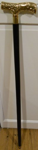 Victorian Style Wood Walking Stick ~ Cane with a Brass Handle by Upper Deck, LTD