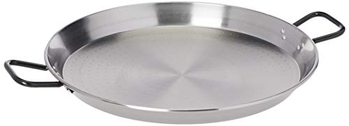 "La Paella 22"" Pata Negra Restaurant Grade Paella Pan, Large, Silver"
