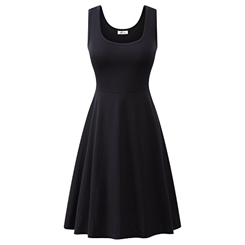 Herou Women Summer Beach Casual Flared Midi Tank Dress (Small, Black)