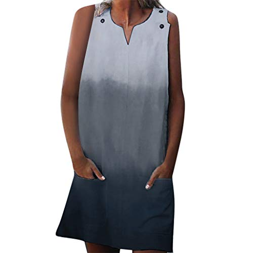 - SMALLE_Clothing t Shirt Dresses for Women,SMALLE◕‿◕ Women Scoop Neck Sleeveless Button Tank Top Gradient Casual Mini Dress Blue