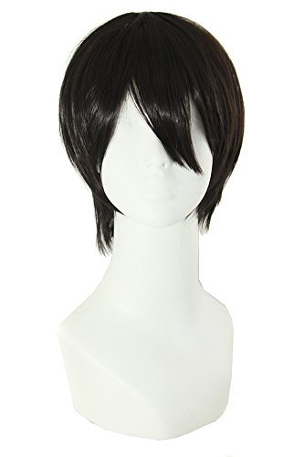 MapofBeauty Men's Short Straight Wig Cosplay Costume Wig (Black)