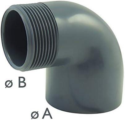 Coude 90/° mixte /à visser et /à coller femelle//male en PVC Ezfitt 63mm x 2