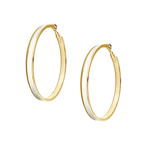 Plated White Enamel - Women's Enamel Large Hoop Earrings (White, gold-plated-brass)