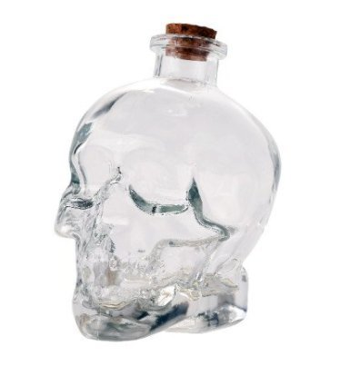 set of 4 Glass Skull Head Decanter Container Flask Jar 14oz Tequila Vodka Perfume (Clear) - 14 Oz Glass Jar