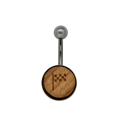 Checkered Flag Surgical Stainless Steel Belly Button Rings - Size 14 Gauge Wooden Navel Ring - Rustic Wood Navel Ring with Laser Engraved Design (Button Ring Belly Checkered)