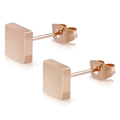 Square Button Earrings (5 MM Rose Gold Stainless Steel Illusion Square Box Button Stud Earrings)