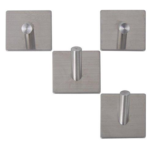 3M Self Adhesive Coat Hooks, Agile-Shop Heavy Duty 304 Stainless Steel Decorative Sticky Wall Mounted Hook Hats Keys Hooks for Bathroom Kitchen, Brushed Finish (4 pcs Single Hook)