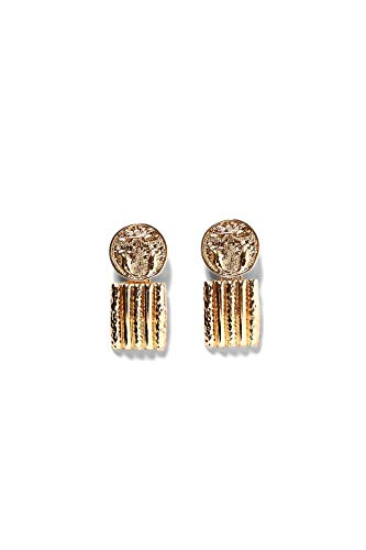 Global Huntress Metallic Textured Bold Yellow Gold Ribbed Pendant Earrings with Metalwork Medallions