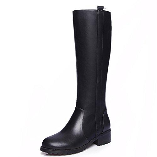 Leather Handmade Boots (Nine Seven Genuine Leather Women's Round Toe Chunky Heel Zip Knee High Handmade Riding Boot (8, Black))