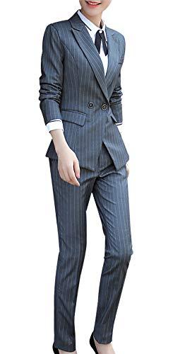 (LISUEYNE Women's Three Pieces Office Lady Stripe Blazer Business Suit Set Women Suits Work Skirt/Pant,Vest)