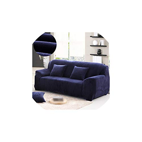 Kaka-home Plush Thick Sofa Cover Elastic for Living Room Couch dust-Proof for slipcovers sectional Sofa,Navy Blue,Pillowcase 2pc