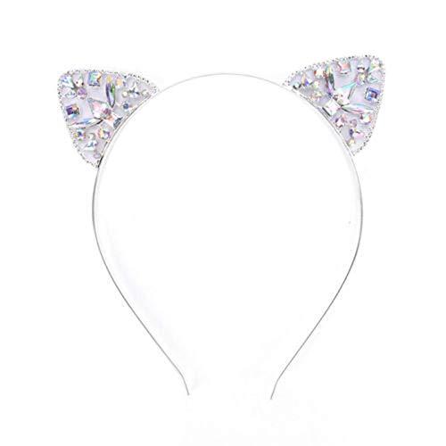 Dream Amy Kitty Cat Sequin Ear Headband Hair Band Fluffy Hair Hoop Headband for Party and Daily Decoration A (Silver)