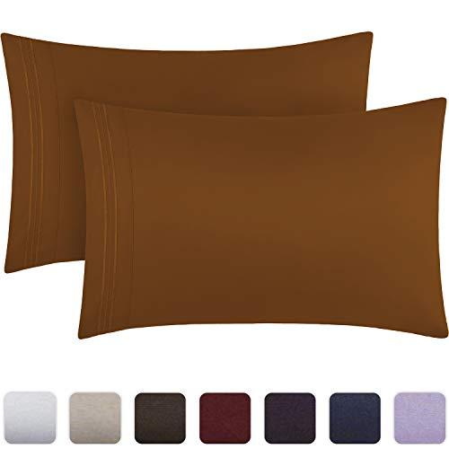 Mellanni Luxury Pillowcase Set - Brushed Microfiber 1800 Bedding - Wrinkle, Fade, Stain Resistant - Hypoallergenic (Set of 2 Standard Size, Mocha)