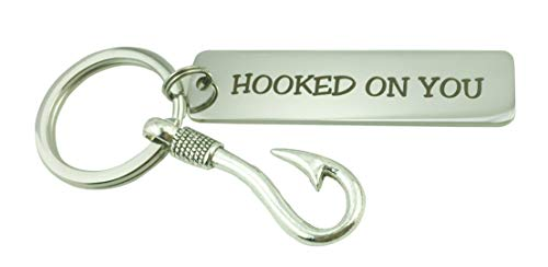 Hooked On You Cute Fishing Keychain for Birthday, Anniversary, Boyfriend, Girlfriend, Couple, Valentines Day, Christmas]()