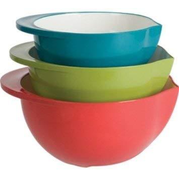 Polypropylene Mixing Bowls Set Of 3-Red; Green & -