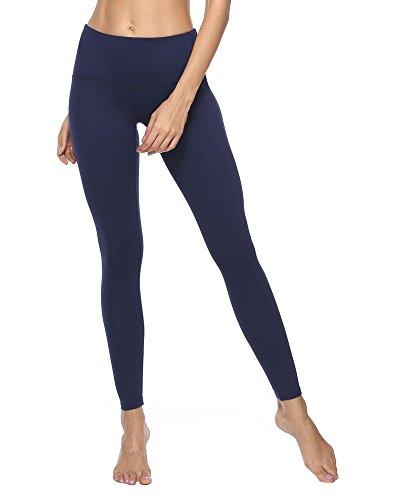 YIVEKO Women Yoga Pants High Waist Hidden Pocket Tummy Control Running Sportswear-Navy Blue-XL