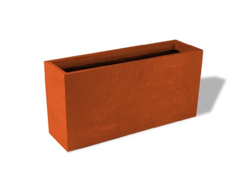 (Amedeo Design ResinStone 2513-6T Tall Rectangular Planter, 48 by 14 by 24-Inch, Terra Cotta)