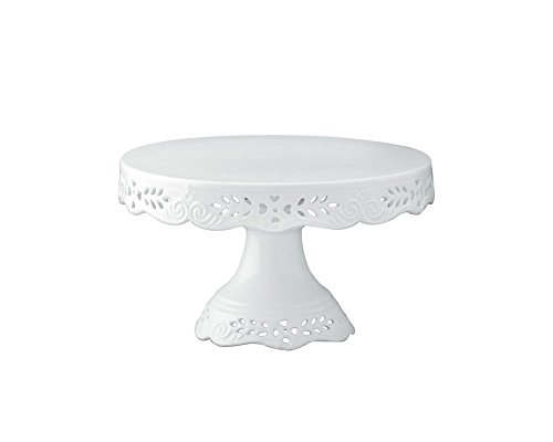 Gracie China 8-Inch Diameter Victorian Rose Fine Porcelain Round Pedestal Cake Stand Off White ()
