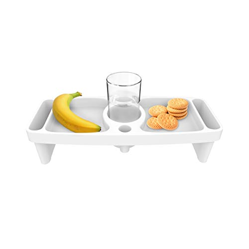 Bluestone Lap Tray with Cupholder, Side Compartments for Eating, Drinking, Snacking on Bed, Couch, Chair-Serve Breakfast, Lunch, Dinner Anywhere ()