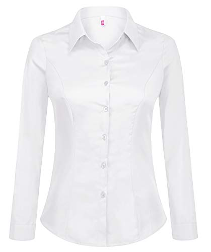 Double Plus Open Women Basic Tailored Collared Button Down Dress Shirt Long Sleeve Blouse White L