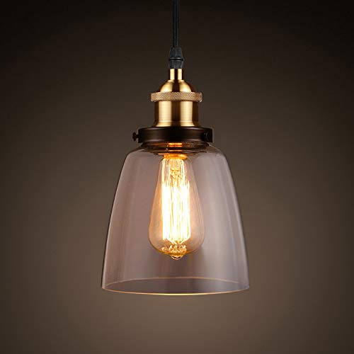 Ascher Industrial Edison Vintage Pendant Light, Clear Glass Shade 1-Light Ceiling Light Fixture, Antique Brass Brushed E26 Socket, 66.9'' Adjustable Cord, Diameter 5.91''(1 Light Bulb Included)