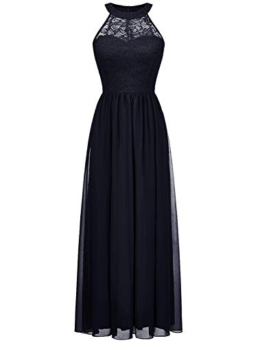 Wedtrend Halter Floral Lace Long Chiffon Bridesmaid Dress Cocktail Party Formal Maxi Dress -