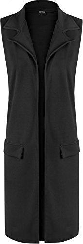 Femmes Waistcoat Veste Haut 56 Cardigan Noir Faux Manches Poche Tailles Sans Wearall Hauts 42 UqxX8wHdd