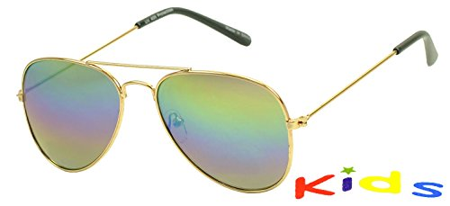 Sunglass Stop Kids Color Revo Mirrored Aviator Sunglasses  Gold  Rainbow Lens
