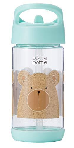 bottlebottle 11.5oz Tritan Leak Proof Kids Water Bottle with Flip Straw and Handle, BPA Free, Mint with Bear