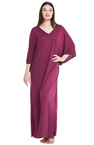 Alexander Del Rossa Womens Modal Knit Nightgown, Oversized Loose Fit Sleep Gown