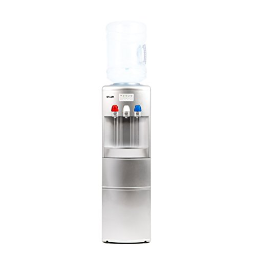 Beverage Hot 1 (DELLA 2-in-1 Freestanding Water Dispenser w/Built-in Ice Maker Hot Cold Cooler Top Load w/Child Safety Lock, Silver)