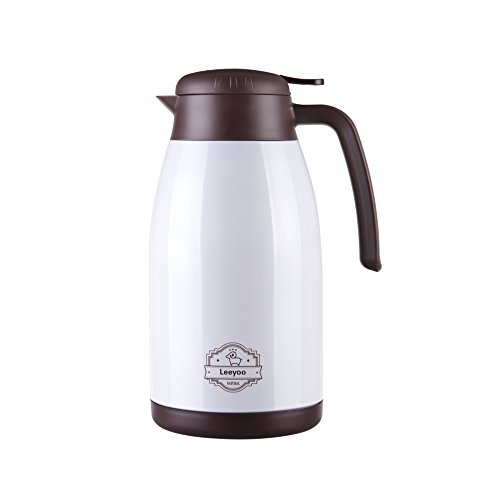 Vacuum Insulated Coffee Flask,Stainless Steel Coffee Pot ,1.5L Thermal Flask For Hot & Cold Drinks ,Vacuum Jug Water Pithcher Insulated Pot ,Big Size Thermal Carafe Teapot ,Pearl White 1.5l Vacuum Thermal Carafe