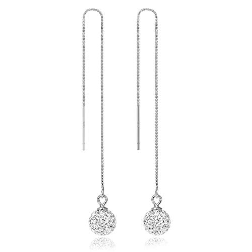 Sterling Silver Threader Earrings for Women,Teen Girls Chain Earrings Crystal Ball Long Drop Earrings Dangle Bar Minimalist Ear Line Pull Through Tassel Earrings Multiple Piercings Fashion Jewelry