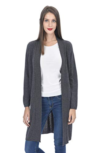 State Cashmere Women's Open Front Long Cardigan 100% Cashmere Straight Hem Oversized Sweater-Coat (Medium, Charcoal)