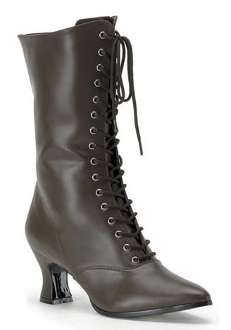 Women's Victorian Boots (Brown PU;10) Pu Womens Victorian Boots