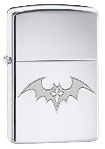 Zippo Lighter: Engraved Bat Cross - High Polish Chrome 79938 ()
