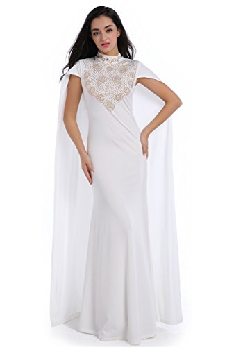 ENLACHIC Women Rhinestone Long Formal Gown Wedding Party Cape Dress