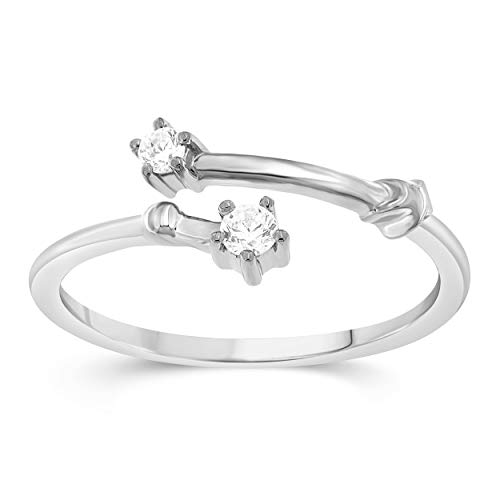 Celestial Star Horoscope ARIES Astrology Star .10 Diamond Ring in Sterling Silver, Size 6