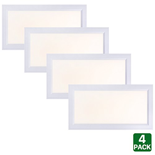 4 Pack Hykolity 1ft X 2ft Ultra Thin Edge-Lit 25W LED Flat Panel Light Residential Flushmount Surface Mount/ Commercial Drop Ceiling Dimmable Ceiling Lamp Fixture 2500lm For Sale
