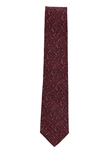 Isaia Mens Marron Wool Silk Blend Geometric Pattern 7 Fold Classic Tie~RTL$275