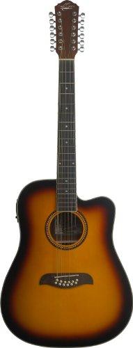 Oscar Schmidt OD312CETS-A-U 12-String Acoustic Electric Guitar. Tobacco Sunburst