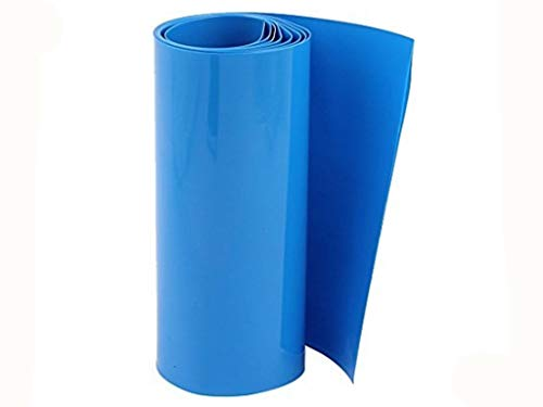 - XJS 105mm Flat 65mm Dia PVC Heat Shrink Tubing Blue for 18650 Battery 2 M