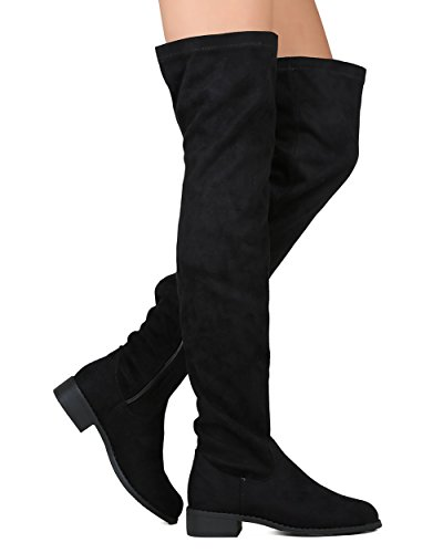 Women's Thigh High Flat Riding Boots Stretchy Girls Night Low Block Heel Pull on Dressy Casual Combat Boots Black 8.5 - Kid Suede High Heels