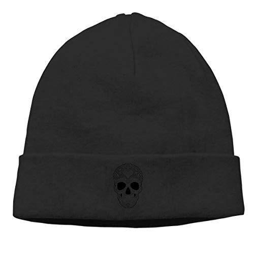 Hip-Hop Knitted Hat for Mens Womens Skull Black & White Unisex Cuffed Plain Skull Knit Hat Cap Head Cap ()